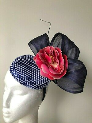 Cobalt blue fascinator with loops, pink flower and barb quill on a headband!