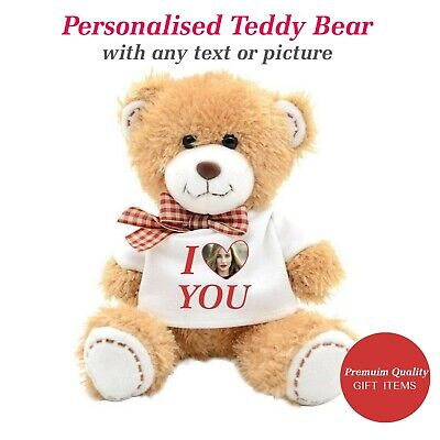 Personalised Teddy Bear Photo Name Valentines Day Gifts for Him Her Gift Ideas