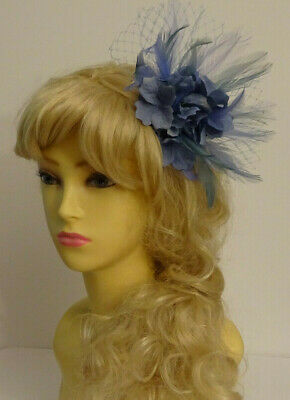 Airforce Blue flower fascinator on comb/wedding/mother of the bride/races