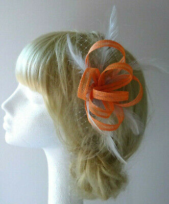 Orange/silver grey fascinator on clip for wedding/mother of the bride