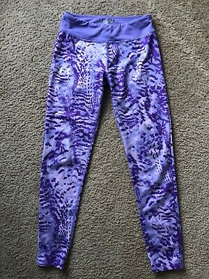 Girls Under Armour Leggings Size M Fitted Heat Gear Purple EUC