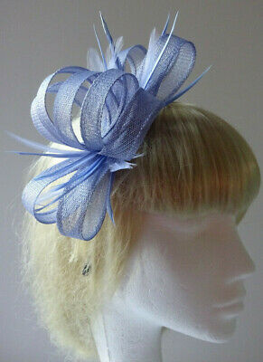 Light blue feather fascinator on headband for wedding/mother of the bride