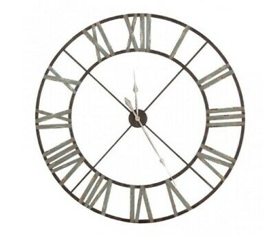 Large Aged Oversized Wrought Iron Wall Hung Clock