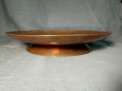 "Mission Style Copper Footed Bowl Dish Arts & Crafts ""Wrought Art"" U.P. HAND-MADE"
