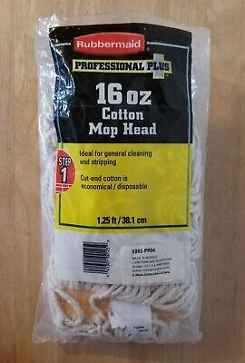 Rubbermaid Professional Plus 16 oz cotton 1.25 ft replacement mop head