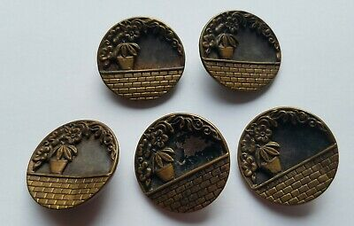 """Ser of 5 Steel Cut Antique Metal 1.25"""" Buttons Picture Flower Pot on Brick Wall"""