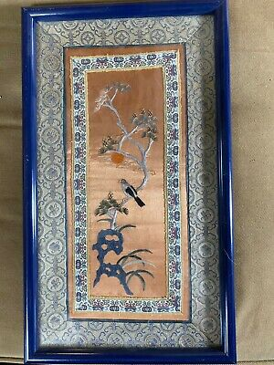 """Vintage Embroidery/Needlework """"An Asian Scene With Bird, Tree & Flower"""" -Framed"""