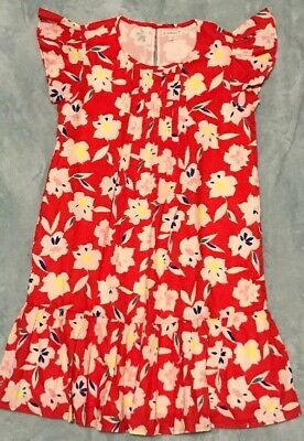 J Crew Crewcuts Red Floral Pleated Ruffle Dress Girls Size 10