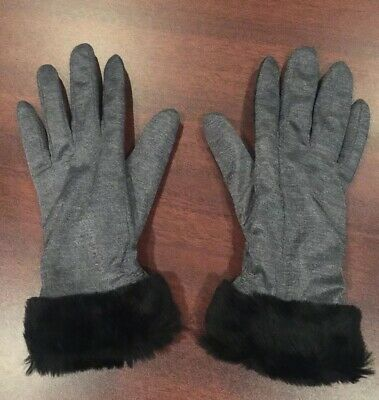 Women's Thinsulate Insulation 40gm Gray Cloth Gloves With Fur Trim Size M
