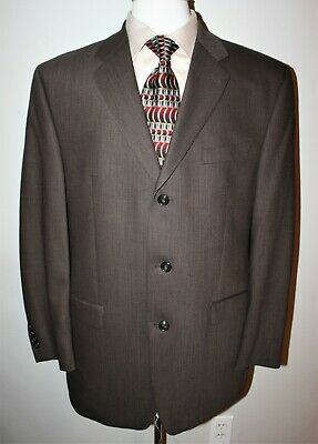 Calvin Klein Men's Size 42 R 3 Buttons Brown/Beige Houndstooth Blazer 100% Wool
