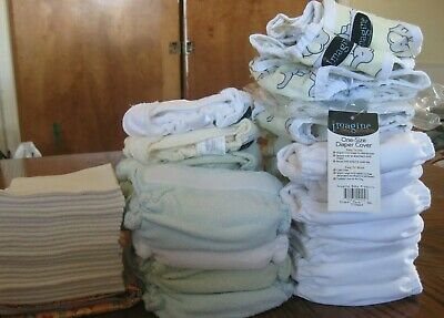 Imagine Cloth Diapers Lot NB Bamboo Fitted/All in Ones/Covers/Liners/Wet-Dry Bag