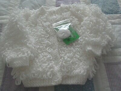 Hand-knitted  Baby's  white  loopy  Cardigan  size 18 chest