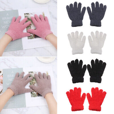 Cartoon Boys Girls Candy Color Kids Gloves Coral Plush Mittens Full Fingers