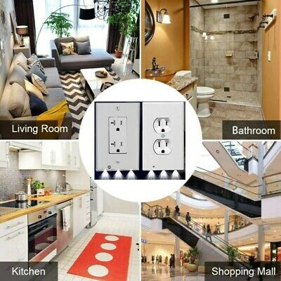 5 Pack Outlet Wall Plate Led Night Lights Cover Duplex With Ambient Light Sensor