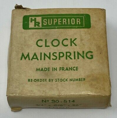 "HR Superior Clock Mainspring No. 80-514 3/4"" x .018"" x 96"" Loop New Old Stock"
