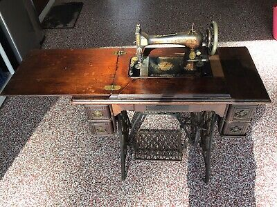 Antique 120 Year Old (1900) Singer Treadle Sewing Machine 5 Drwr Cabinet-ISO TLC