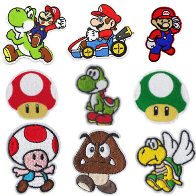 Super Mario Characters Game Nintendo Iron/Sew On Patch Embroidered Cloth DIY