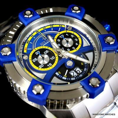 Invicta Reserve Grand Octane 63mm Stainless Steel Swiss Blue Chrono Watch New