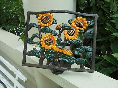 Vintage Cast Iron Sunflowers Book Stand Recipe Cook Book Stand