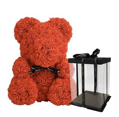 Rose Teddy Bear Flower Valentines Day Gift, Mothers Day, Birthday Gift With Box