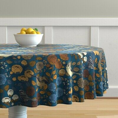 Round Tablecloth Winter Floral Wedding Birds Flowers Peonies Cotton Sateen