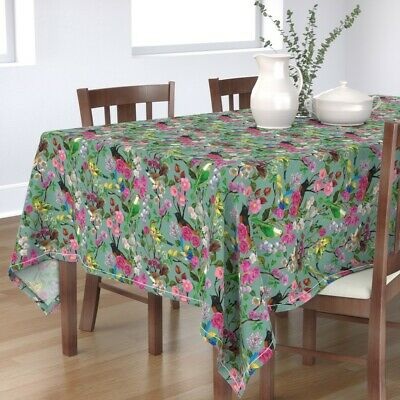 Tablecloth Birds Bird Floral Pink Turquoise Australia Flowers Cotton Sateen