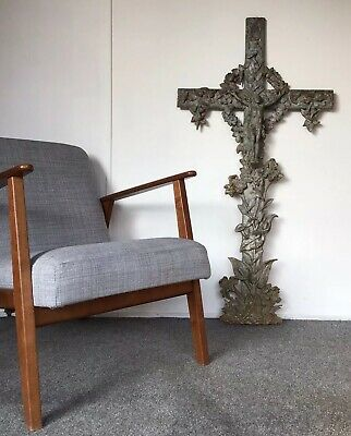 4ft Antique Ornate French Cast Iron Crucifix Cross c1800's LARGE Salvage.