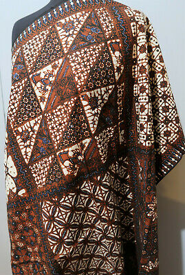 **Vintage Indonesian Hand Crafted Brown, Blue & Cream Batik Cotton Tablecloth