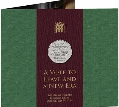 2020 UK BUNC Brexit 50p Coin in Royal Mint Packaging In Hand Now.