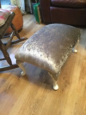 Vintage Small Foot Stool with lovely Queen Anne Legs in Silver Crushed Velvet
