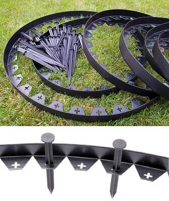 10 m of Garden Edging Border Flexible Lawn Grass Plastic Black + 50 STRONG Pegs