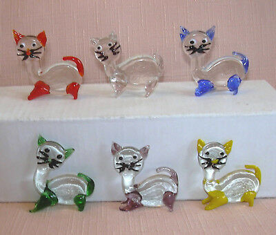 6 CUTE MINIATURE CRYSTAL/GLASS CATS Each one is a different colour