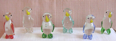 6 CUTE MINIATURE CRYSTAL/GLASS PENGUINS Each one is a different colour