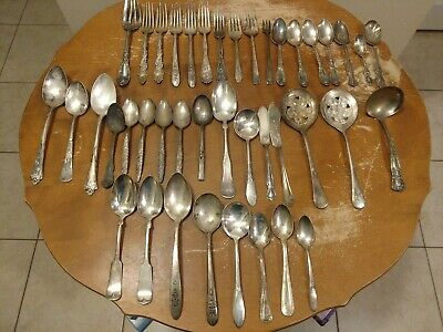 Antique Silver Plate Flatware Lot of 41 Pc Mixed ROGERS BARTON COMM. plus