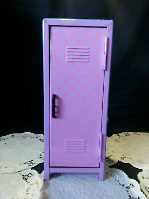 "METAL GLITTER SCHOOL LOCKER~ for ~12""~ 18"" Dolls~ 2 Shelves~Metal~ EUC"