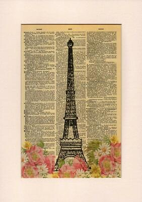 8 x 10.5 Dictionary Art Print Printed On Authentic Vintage Dictionary Book Page Fresh Prints of CT Elephant Zen Tower