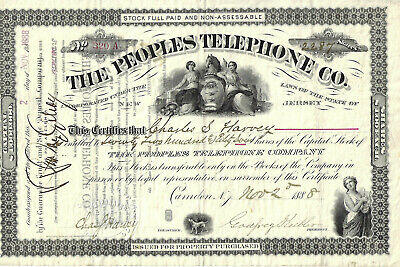 NEW JERSEY 1888 The Peoples Telephone Company Stock Certificate RARE
