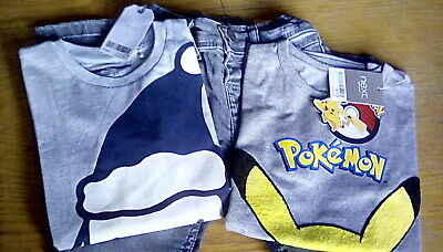 Next BNWT Grey 'Adios Amigo' Jeans+Pikachu Top+Grey Santa Top Bundle/ 4-5 Years