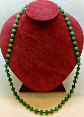 Quing Antique Chinese Jade Necklace With Filigree Silver Clasp