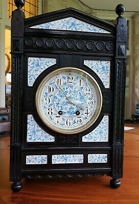 Antique Ebonised Aesthetic Clock Blue & White Ceramics. Lewis Foreman Day Design