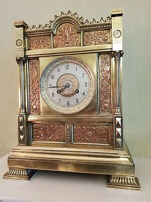 English Design Reform Movement Aesthetic Bronze Copper/Silver Inlay Mantel Clock