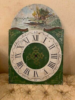 French Vintage Grandfather Clock Plate, Hand Painted Clock Dial 1880 Antique