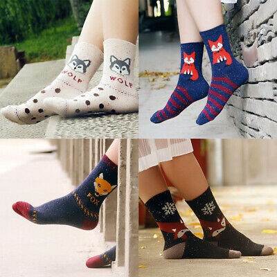 Lovely Animal Pattern Women Girls Artificial Wool Socks Thick Atumn Winter Warm
