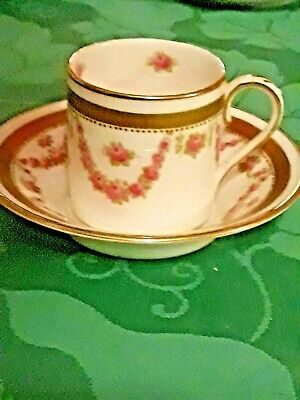 Antique Crown Staffordshire Demitasse Cup and Saucer Cabinet Roses 1910 Painted