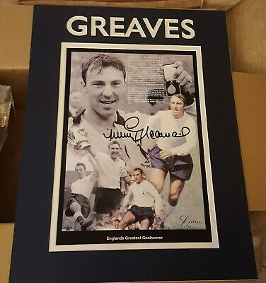 Football Great JIMMY GREAVES Signed Mounted Legends Print