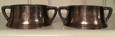 Pair Silver Plated Arts & Crafts Porringers Marked BMF University of Arts London