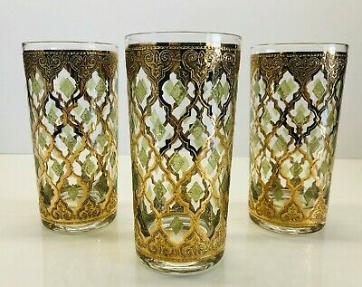 Vintage Set Of 3 Culver Ltd. Valencia 22K Gold Green Highball Glasses