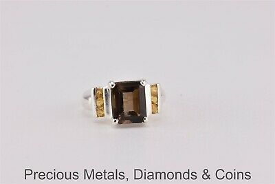 Sterling Silver Smoky Quartz Yellow Citrine Accents Statement Ring 925 Sz: 6