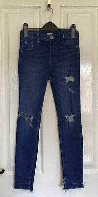 RIVER ISLAND Girls Molly Ripped Distressed Blue Skinny Jeans age 10
