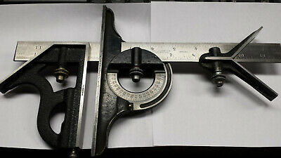 Vintage Starrett 4PC Combination Square Set 4R Grad. W/12 Inch Rule